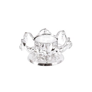 SILVER PLATED CANDLE HOLDER DECORATED WITH 7 CLEAR CRYSTALS, WITH TEA LIGHT-4904